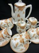 Oriental YAMADA coffee set for eight. Blossom flowers